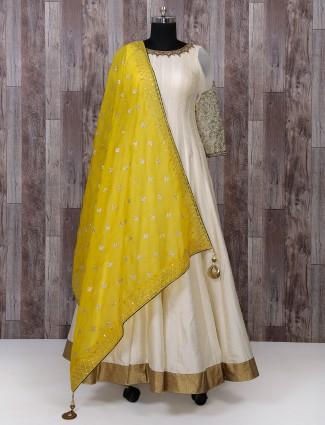 Classic silk fabric cream anarkali suit