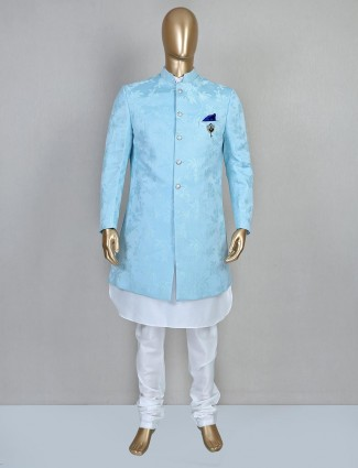 Classy blue silk mens indo western
