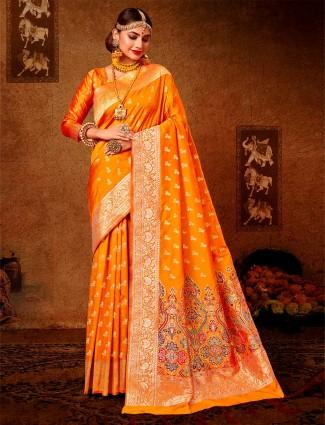Classy magenta wedding wear banarasi silk saree