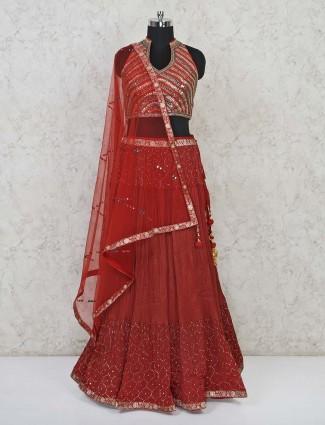 Classy maroon georgette wedding wear lehenga choli