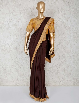 Coffee brown saree in satin with ready made blouse