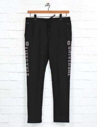 Cookyss black printed cotton track pant