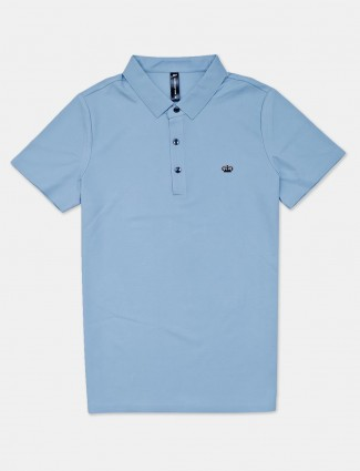 Cookyss blue solid cotton slim fit polo t-shirt