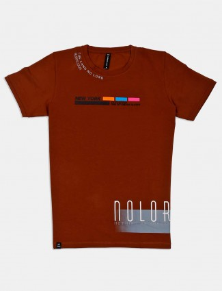 Cookyss brown printed casual t-shirt
