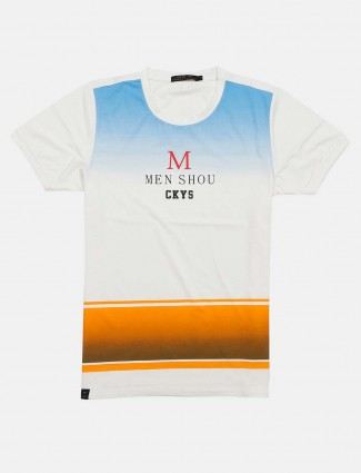 Cookyss casual wear printed white t-shirt