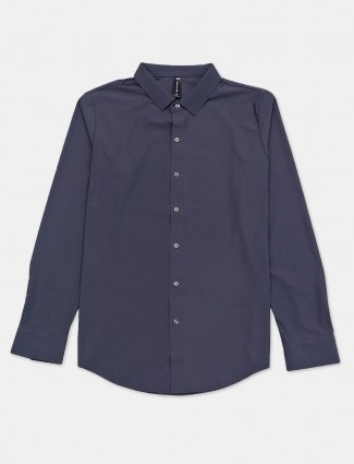 Cookyss full sleeves dark grey solid casual shirt