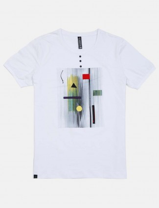 Cookyss half sleeves white printed t-shirt