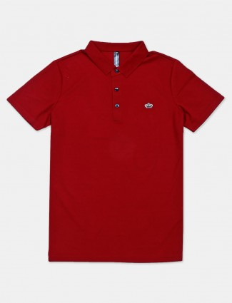 Cookyss maroon solid polo t-shirt