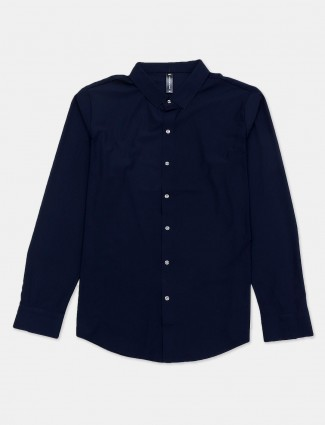 Cookyss navy solid shirt in cotton for mens