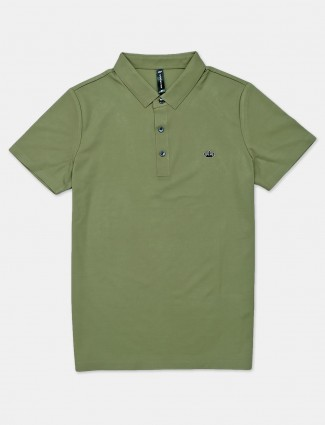 Cookyss solid green cotton polo t-shirt