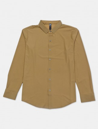 Cookyss solid grey cotton casual shirt
