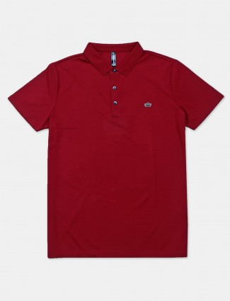 Cookyss solid maroon polo t-shirt