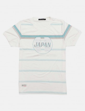 Cookyss white casual stripe t-shirt