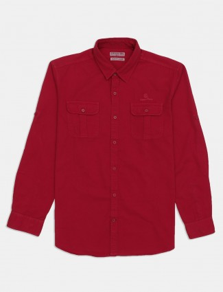 Copper Stone solid maroon cotton casual shirt