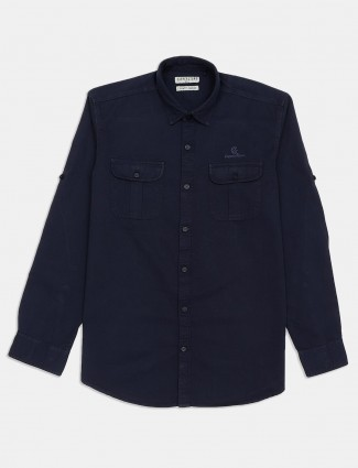 Copperstone solid navy cotton shirt