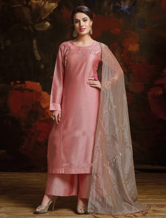 Coral pink  silk palazzo suit