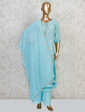 Cotton aqua elbow sleeves palazzo suit