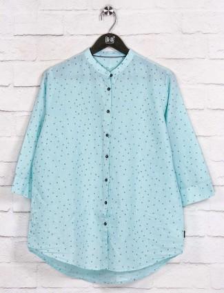 Cotton aqua printed latest shirt