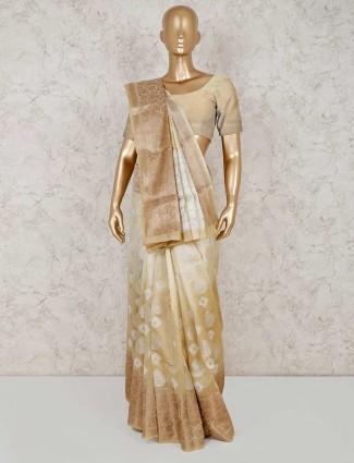 Cotton banarasi silk saree in beige