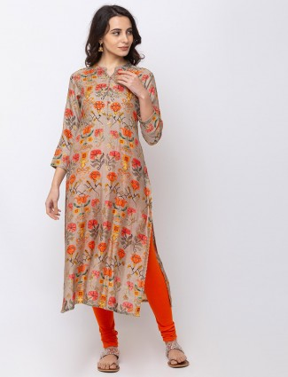 Cotton beige printed kurti set