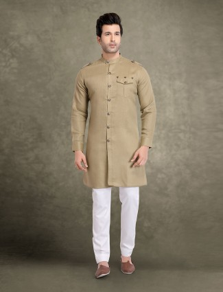 Cotton beige solid festive wear kurta suit