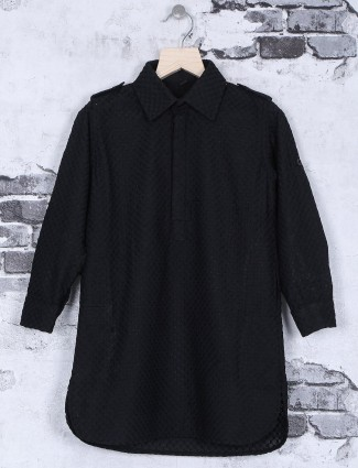 Cotton black festive wear kurta suit