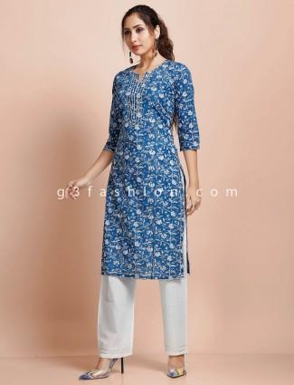 Cotton blue printed festive punjabi pant suit