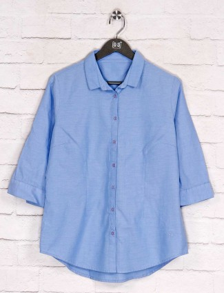 Cotton blue simple casual wear shirt