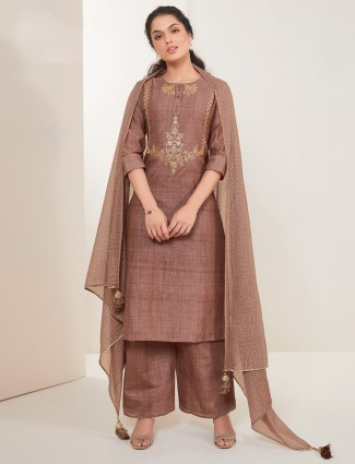 Cotton brown festive wear palazzo suit