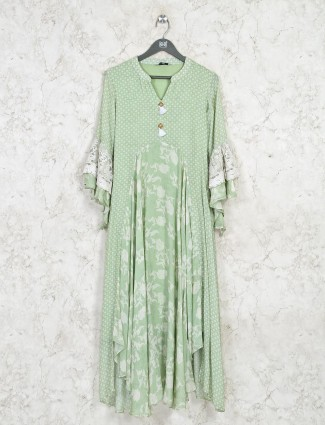 Cotton casual wear pista green kurti