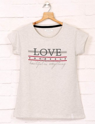 Cotton cream casual wear tshirt