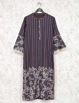 Cotton dark grey printed kurti