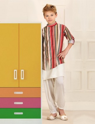 Cotton dark pink double layer style kurta suit