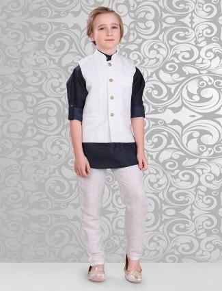 Cotton designer navy white waistcoat set