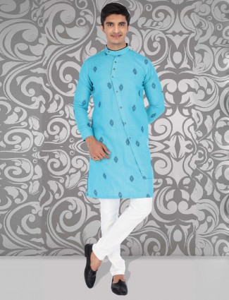 Cotton fabric aqua hue printed kurta suit