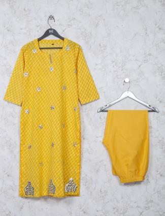 Cotton fabric checks yellow color kurti set