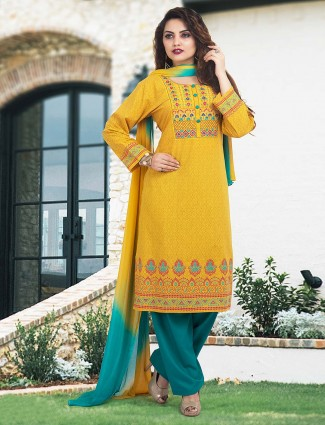 Cotton fabric festive yellow punjabi salwar suit