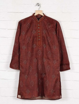 Cotton fabric maroon hue kurta suit