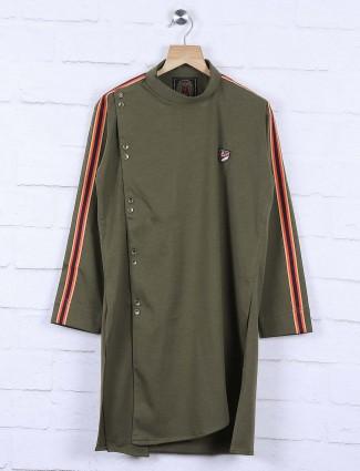 Cotton fabric olive solid kurta suit