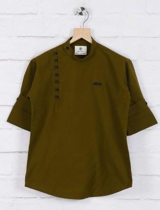 Cotton fabric olive solid short kurta