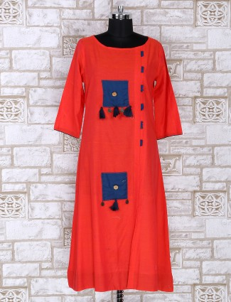 Cotton fabric orange colored kurti