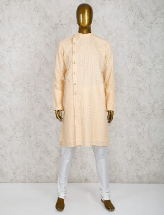 Cotton fabric peach hue kurta suit