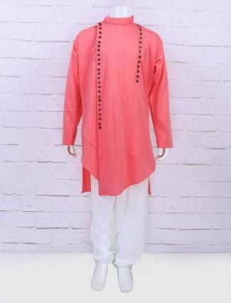 Cotton fabric pink hue festive wear kurta suit