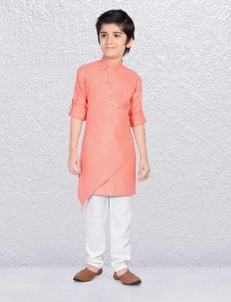 Cotton fabric pink kurta suit