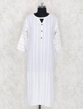 Cotton fabric white stripe pattern kurti