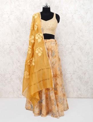 Cotton fabric yellow lehanga choli for festive