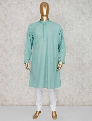 Cotton green festive kurta suit