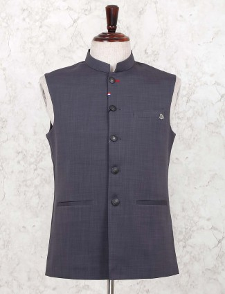 Cotton grey hue solid stand collar waistcoat