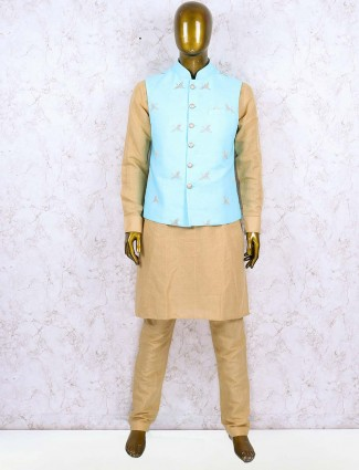 Cotton jute aqua color party wear waistcoat set