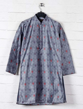 Cotton kurta suit in  grey for boys